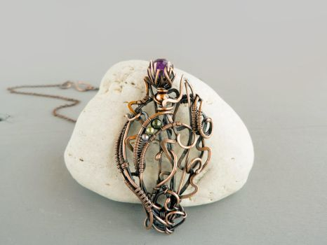 Thistle wire pendant by UrsulaJewelry