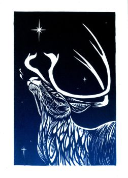 Reindeer Linocut Holiday Card by AmandaMyers