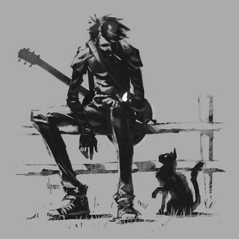 The musician, the cat and the butterfly by V-nom