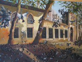the eyup sultan mosque birds by fusunyeremyan