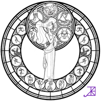 Meg Stained Glass -line art- by Akili-Amethyst