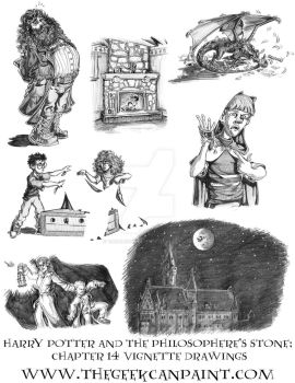 Harry Potter: Book 1 Chapter 14 Vignette Drawings by TheGeekCanPaint