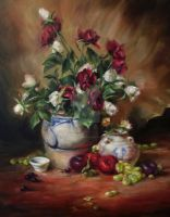 Still Life with red and white roses by kodoku-no-mori