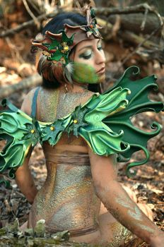 Sculpted Leather Dryad Headdress And Wings by Beadmask