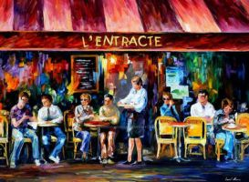 Cafe In Paris by Leonid Afremov by Leonidafremov