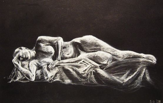 Nude white charcoal study by HedgehogBeeblebrox