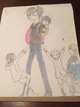Izaya with kids by madam3gr33n