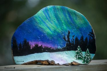 Tree shelf Aurora Borealis painting by gigi50