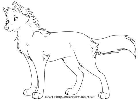 Wolf Lineart by mirzers