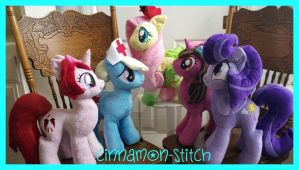 My little Pony Plushie Commissions Family Pic by CINNAMON-STITCH