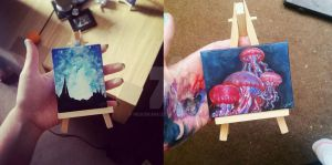 Small Jellyfish and Galaxy Sky Paintings by messikaru