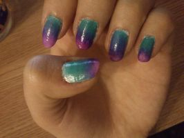 Pink and Turquoise ombre by Anonymous---Lucifer