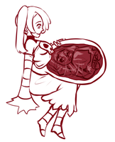 Skullgirls Vore Sketch: *Non-vore in description* by Cakehoarder