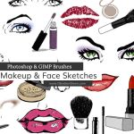 Makeup + Face Sketches Photoshop and GIMP Brushes by redheadstock