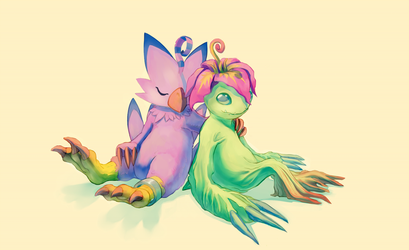 Piyomon and Palmon by J3rry1ce