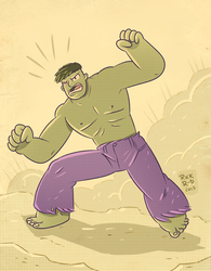 The retro Incredible Hulk by rickruizdana