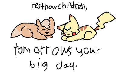 Rest Now Pikachu, Rest Now Eevee by patchy-moon