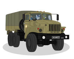 Ponies driving Ural-4320 by DolphinFox