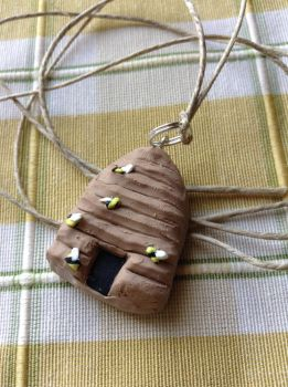 Beehive clay charm and necklace by Amanda-Lara1996