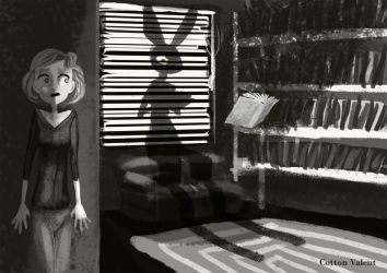 Shadow rabbit in my house by CottonValent