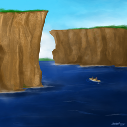 Daily Art Challenge #225: Canoe by the cliffs by SnowCrasher