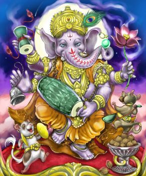 Ganesha the elephant headed god with friends mice by wolfchiarts