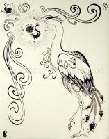 Art Nouveau... Heron Thing. by HanMonster