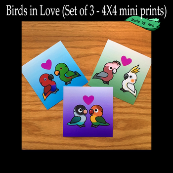 Parrots in Love mini prints by SPPlushies