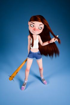 Girl with nail bat by DouglasAguila