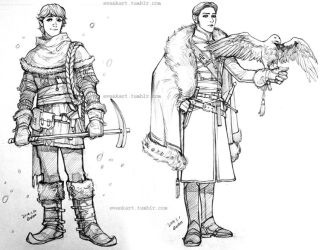 Kristoff and Hans, pencil sketches by evankart