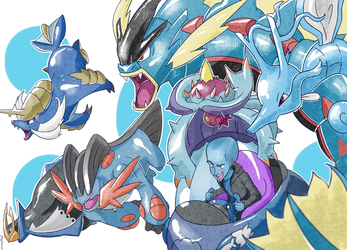 MY WATER POKEMON TEAM by Meg4mente