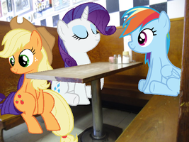 Ponies at a Diner by Eli-J-Brony