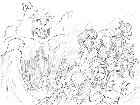 Night Wolf Comic Book Issue #1 Cover Sketch by RAM-Horn