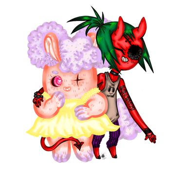 Just characters bunny gurl and devil boii by alreadyaperson