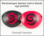 Burtonesque Spiral eye patches, black and red by EirewolfCreations