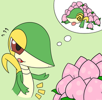 Lunch time Snivy by kemofoo