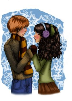 Ron and Hermione colored by HermioneGrangerClub
