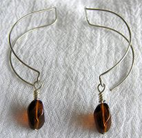 Amber Paperclip Earrings by lavadragon