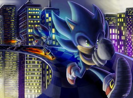 Sonic, Shadow and Metal by MaskedGolem