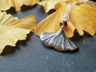 Silver Painted Ginkgo Leaf -Garnet- Pendant by QuintessentialArts