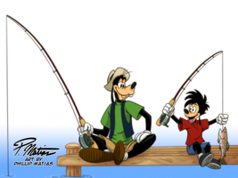 Goofy and Max Fishing by BW-Straybullet