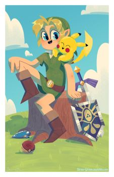 Link and Pikachu - Commission by DrewGreen