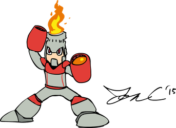 Draw Mega Man Day 2015 - Fire Man by JonCausith