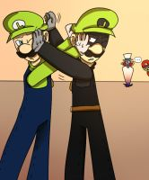 Luigi and Mr.L (Request Kirby1213) by mariogamesandenemies