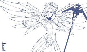Mercy fan art overwatch by MaiuLive