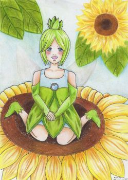 A Fairy on a Sunflower by BigRice