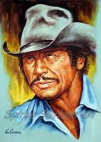 Charles Bronson portrait painting art by SpirosSoutsos