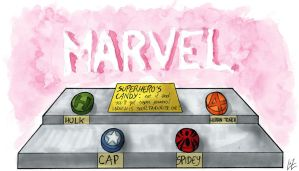 Marvel's Superheros' candies from my weird dream by Tremotino