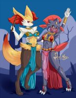 Braixen and Weavile (Commission) by DevilMarie