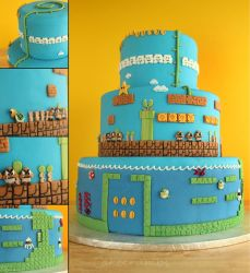 Super Mario Bros. Cake by cakecrumbs